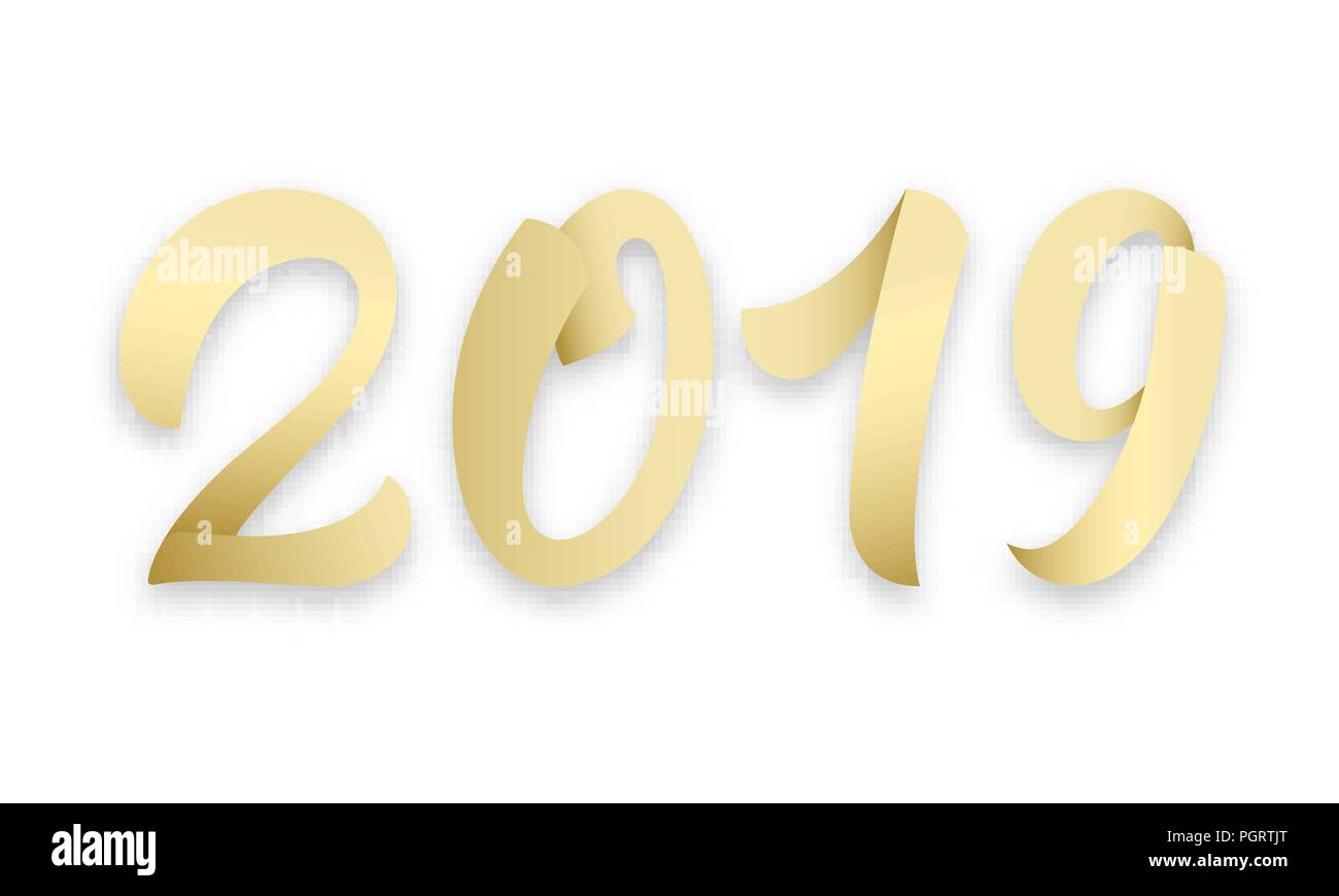 2019. Gold lettering 2019 numbers for New Year 2019 celebration - Stock Image