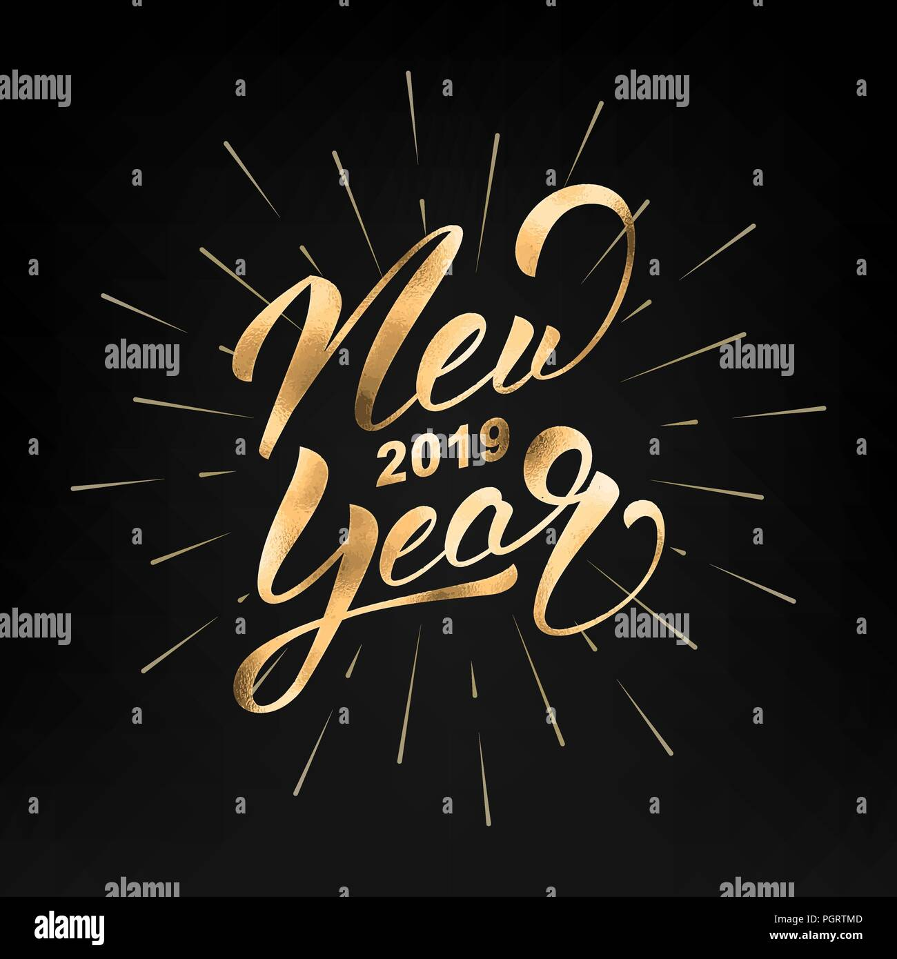 new year 2019 happy new year 2019 gold foil hand lettering label hand drawn logo for new year card poster design etc