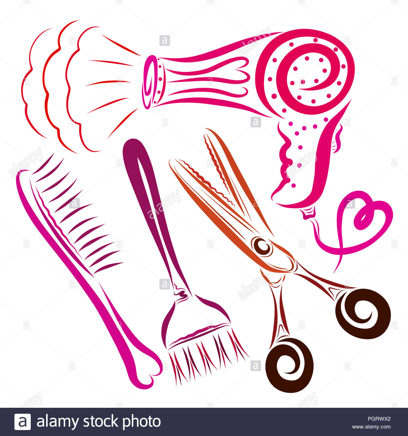 Hair dryer with a heart, a comb, a brush for coloring hair and ...