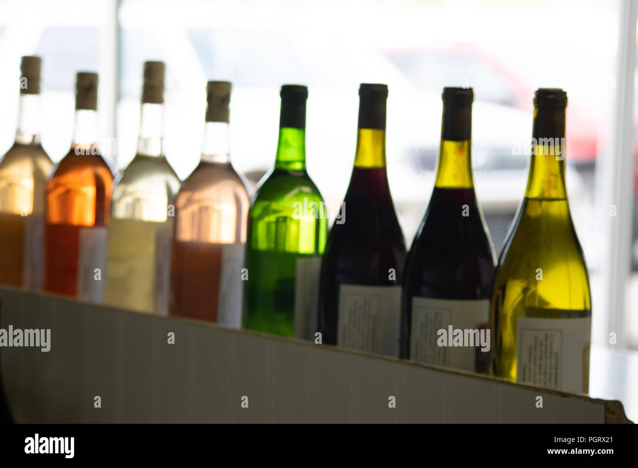 A row of colorful wine bottles back lit by natural white against a light background Stock Photo