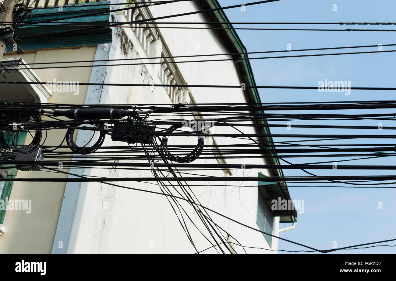 Electric cables in Bangkok Thailand - Stock Image