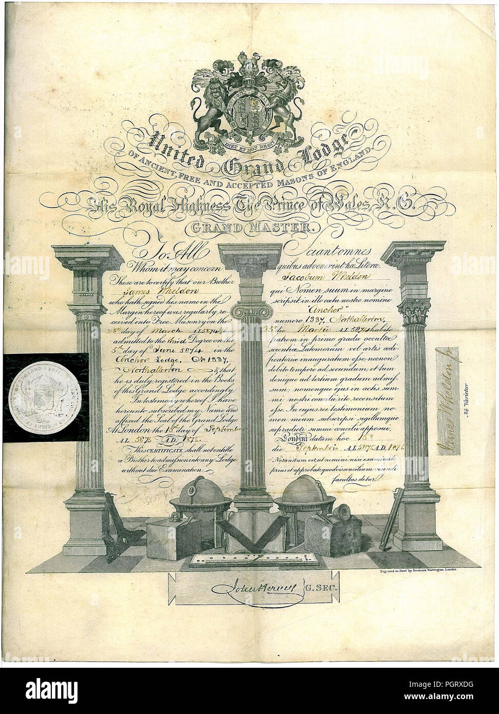 A Free Mason certificate admitting a James Wheldon as a third degree mason in to the lodge at Northallerton Yorkshire dated 1875 - Stock Image