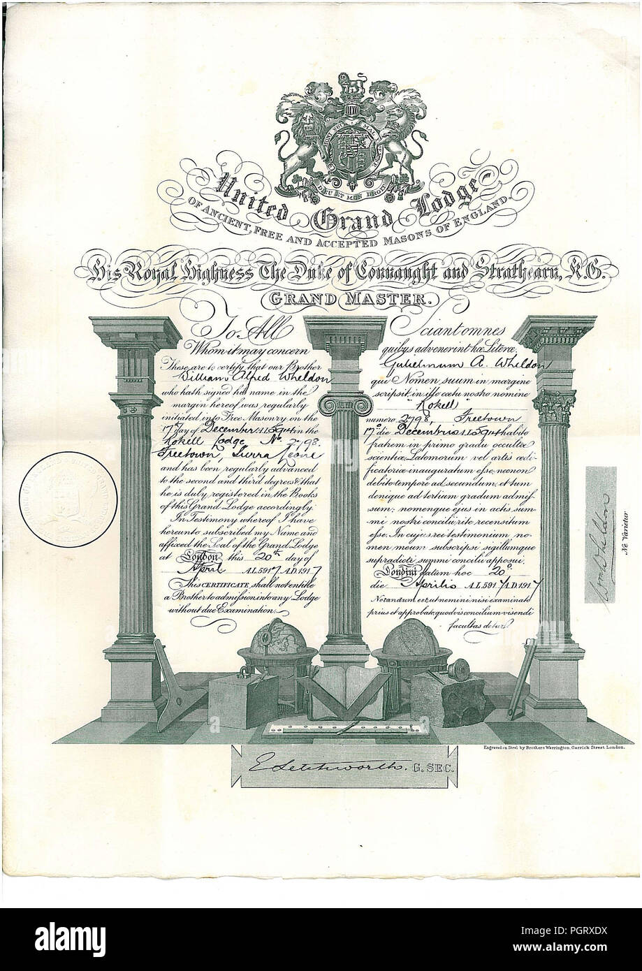 A Free Mason certificate admitting a William Wheldon as a mason in to the lodge at Rokell Lodge in Sierra Leone dated 1917 - Stock Image