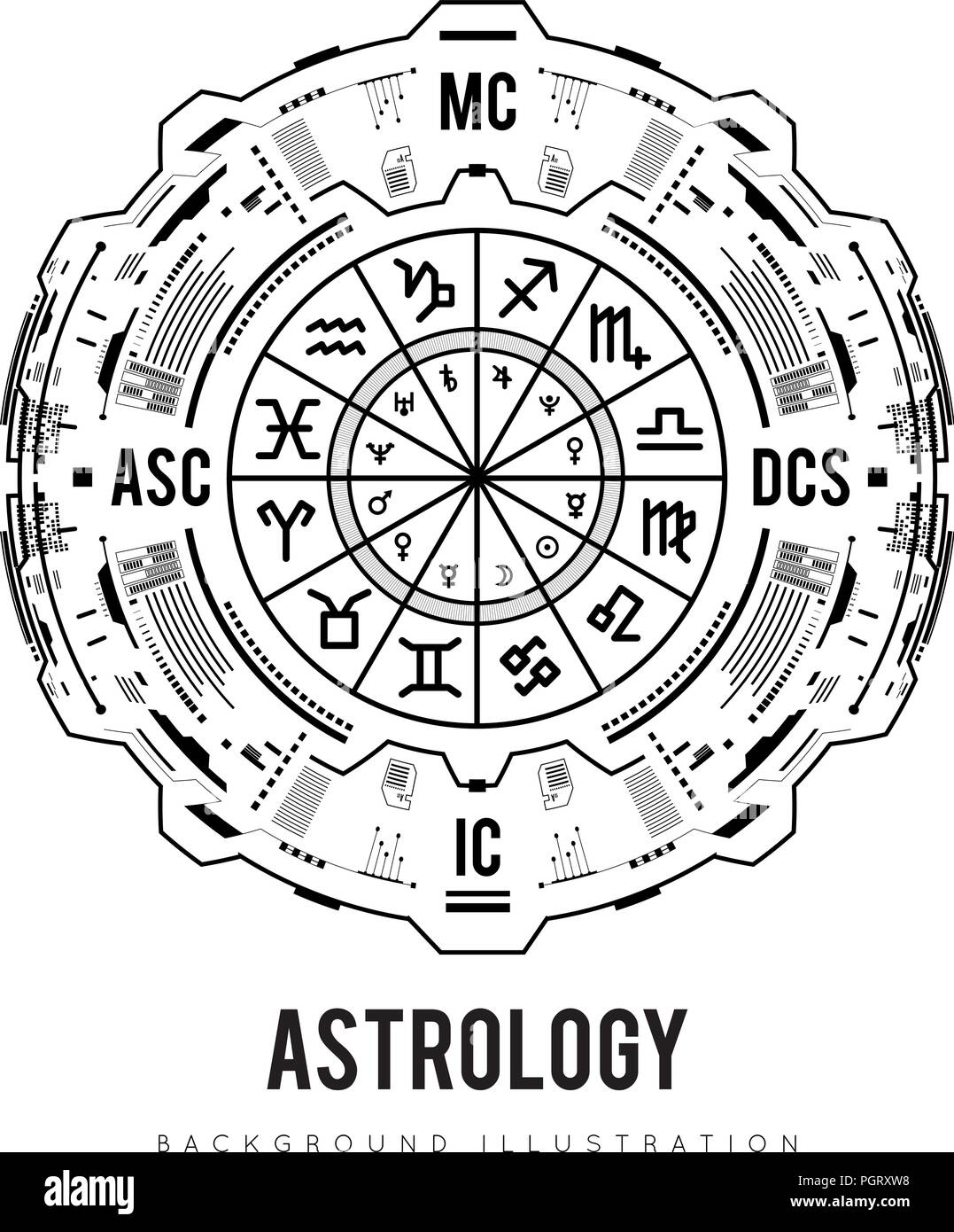 Astrology background. Natal chart, zodiac signs, houses and ...