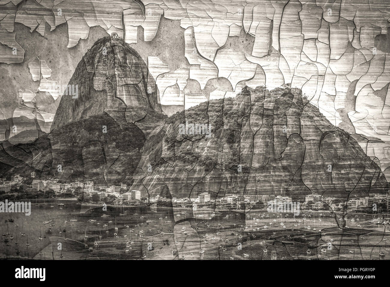 Stylized as an old cracked black and white photograph rio de janeiro brazil in the evening sun light