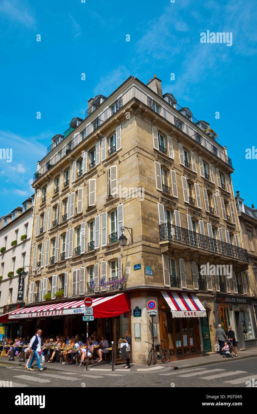 Cafe Le Bonaparte, Place Saint Germain des Pres, St Germain des Pres, Left Bank, Paris, France - Stock Image