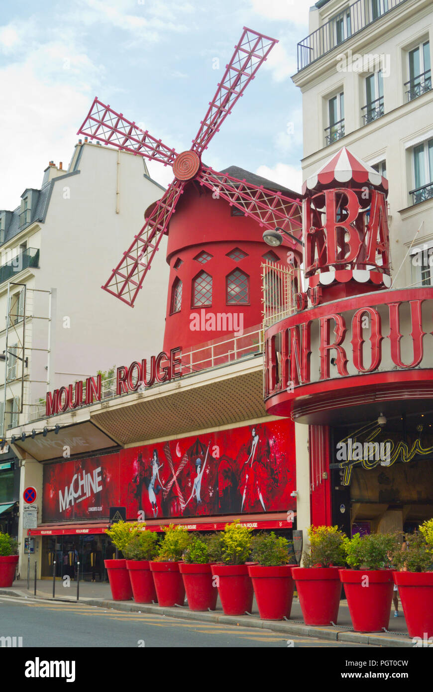 La Machine du Moulin Rouge famous nightclub, Place Blanche, Pigalle, Paris, France - Stock Image