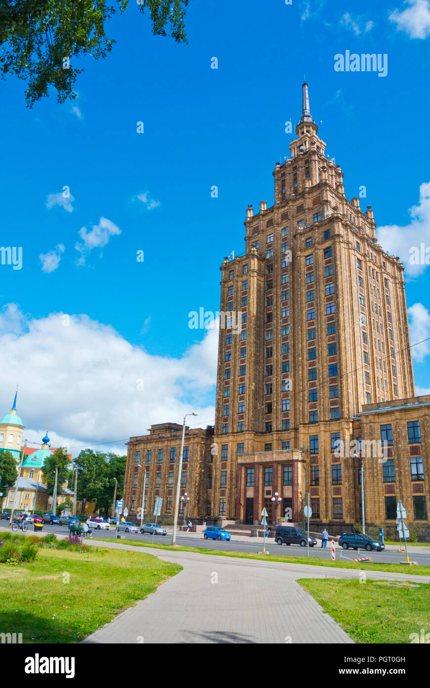 Latvian Academy of Sciences, LZA panorama, Riga, Latvia - Stock Image