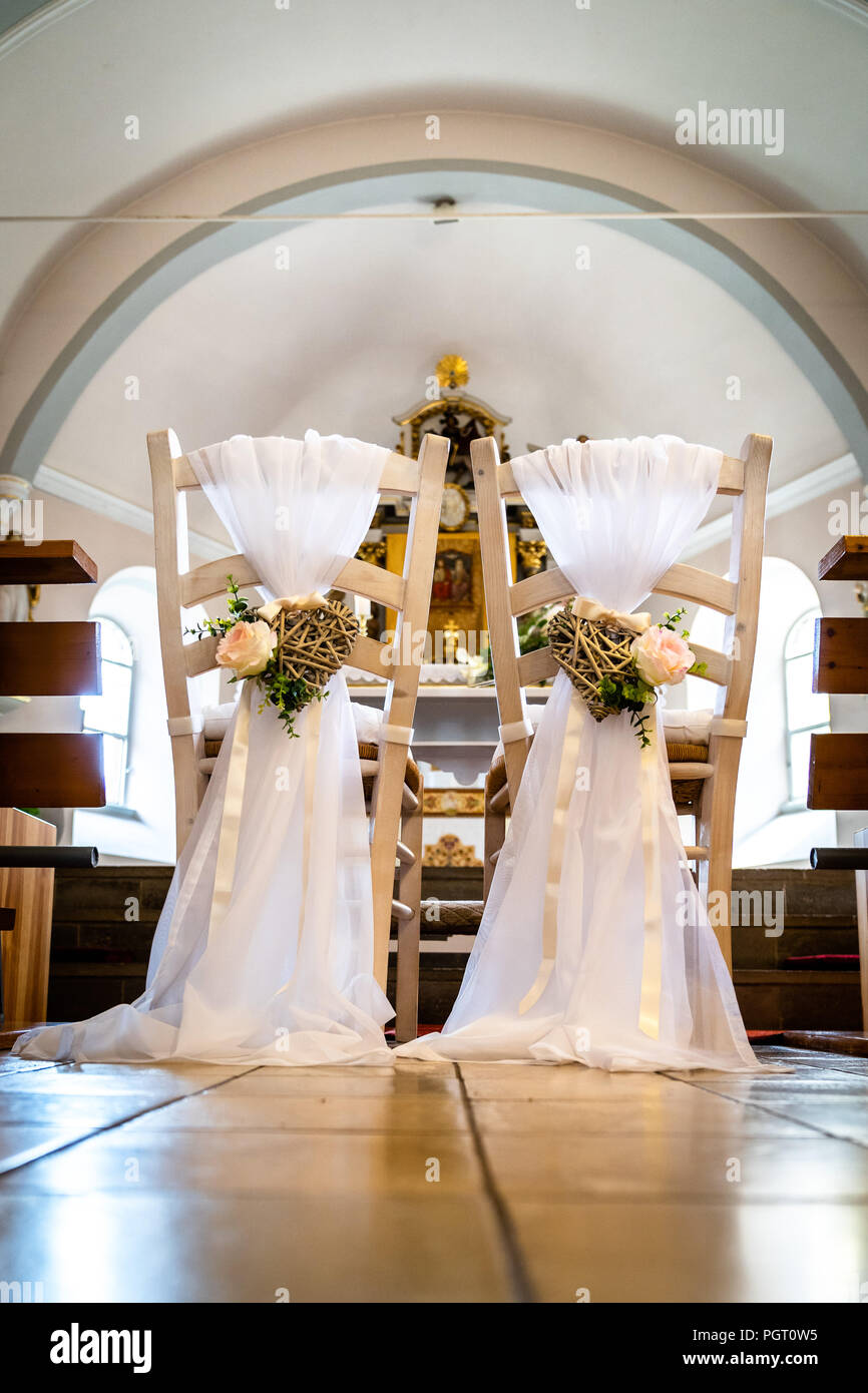 Wedding Chairs In The Church Stock Photo 216886465 Alamy