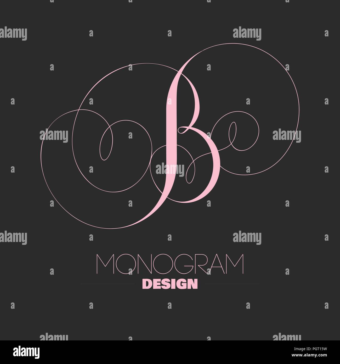 letter b designed in copperplate style creative monogram template