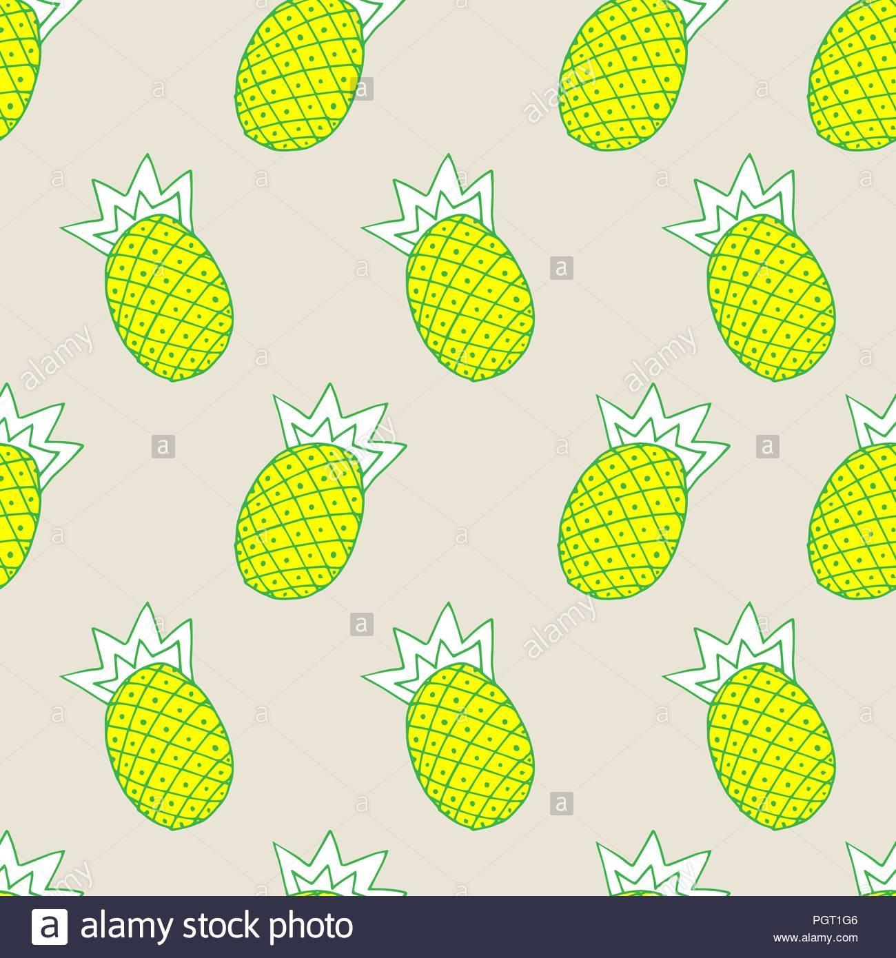 vector seamless fashionable beige background gentle light, illustration of pineapple on background - Stock Vector