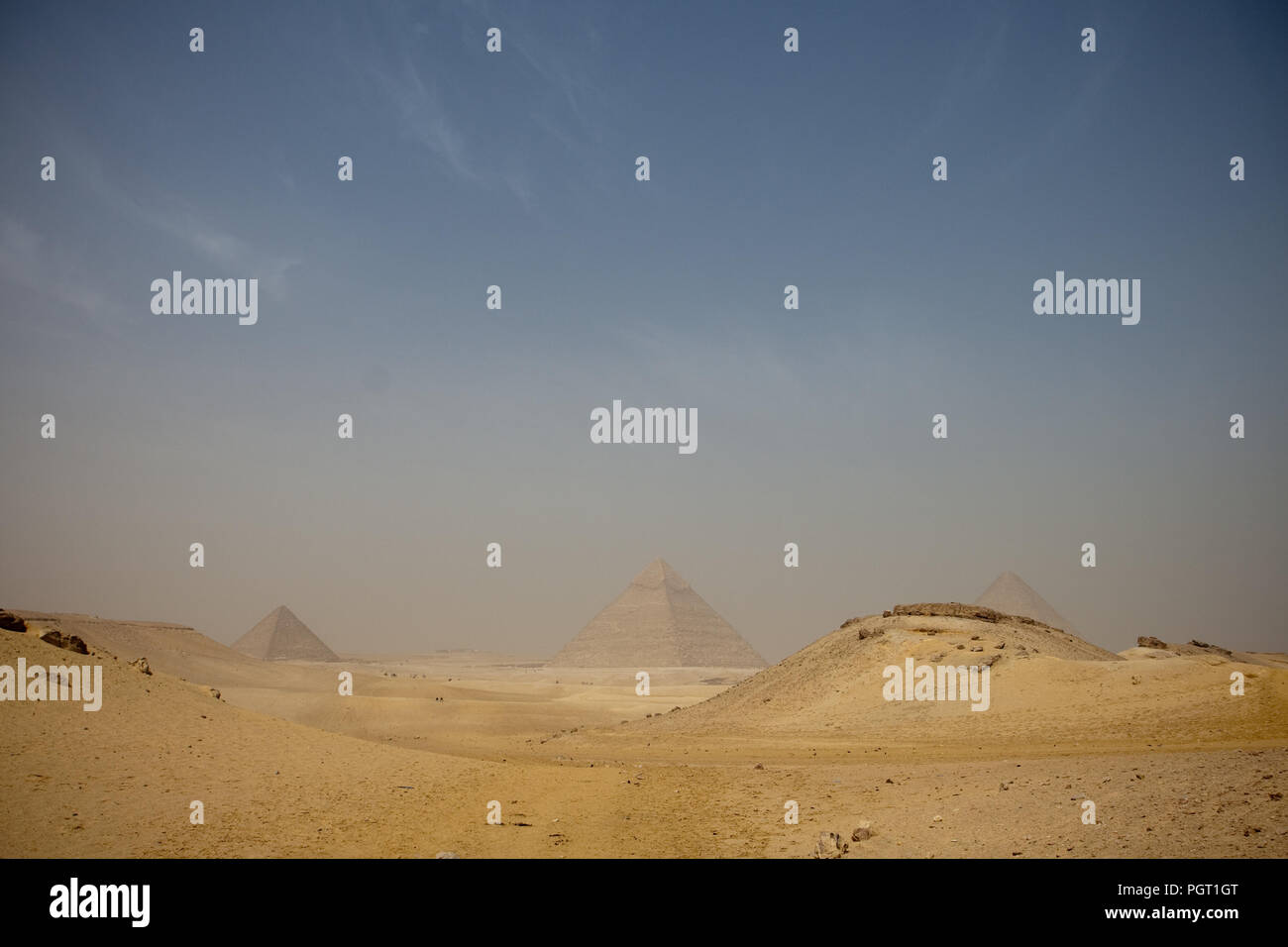 Hazy pyramids from a distant position, Cairo, Egypt - Stock Image