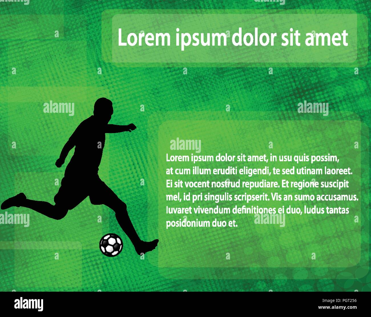soccer player silhouette on the abstract background with space for text - vector - Stock Image