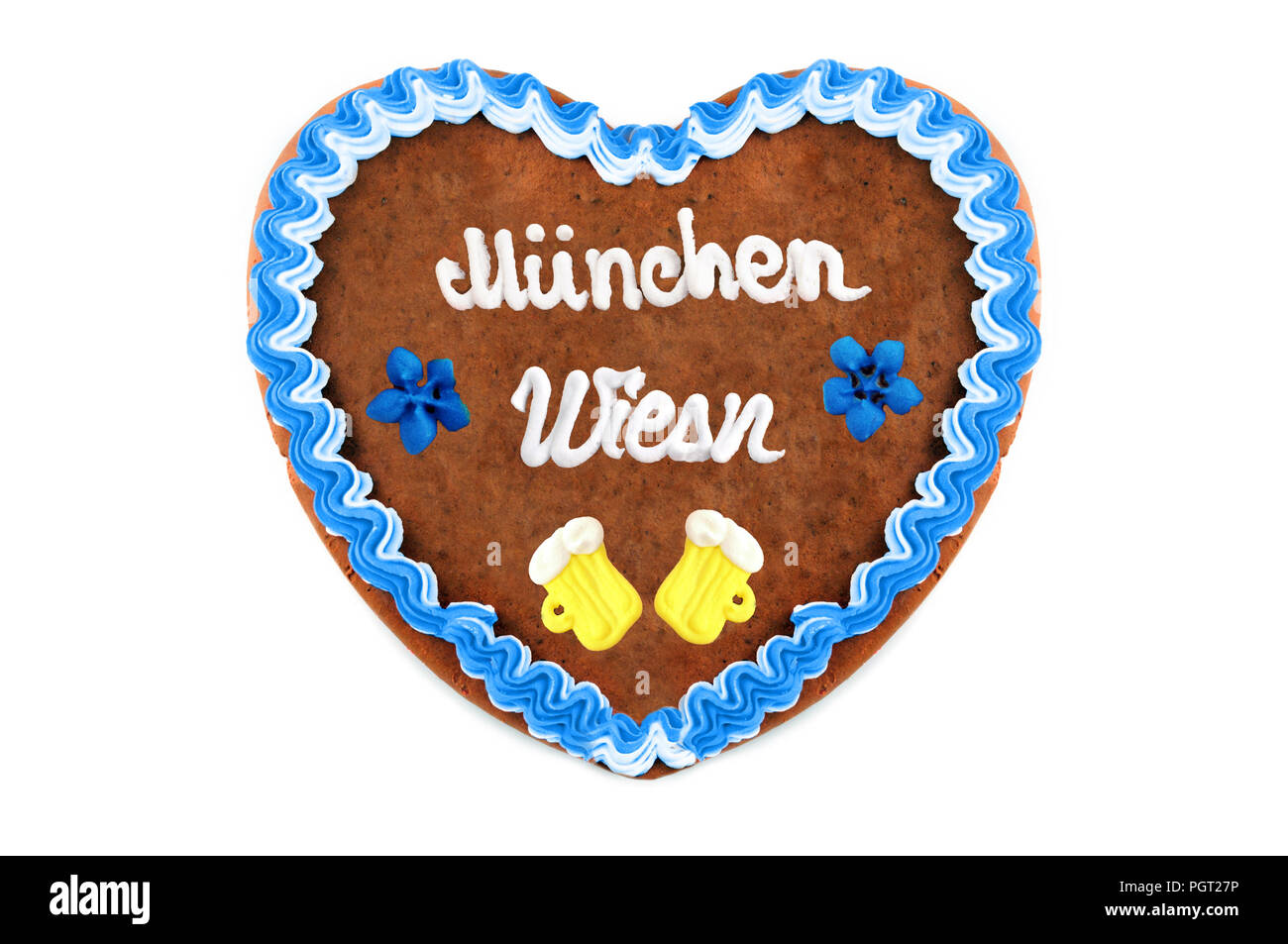 Wiesn Muenchen (english meadow Munich of Octoberfest event in germany) Gingerbread heart with white isolated background - Stock Image