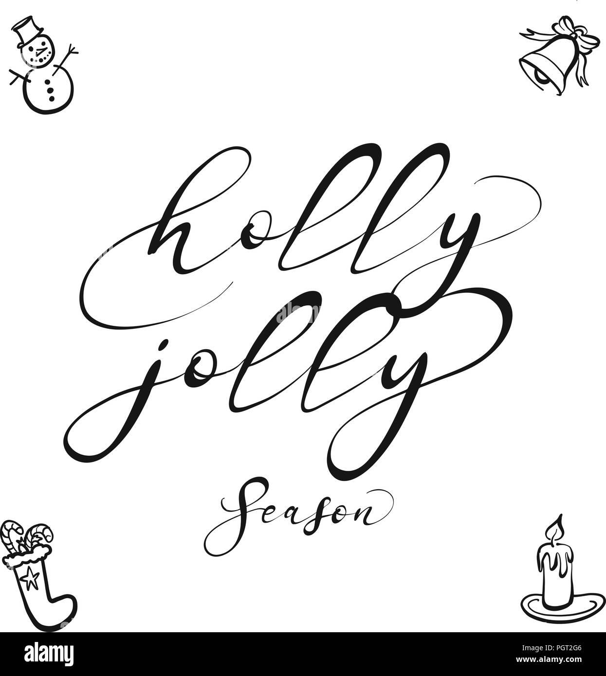 Holly jolly lettering nice seasonal calligraphic artwork for holly jolly lettering nice seasonal calligraphic artwork for greeting cards hand drawn vector sketch altavistaventures Choice Image