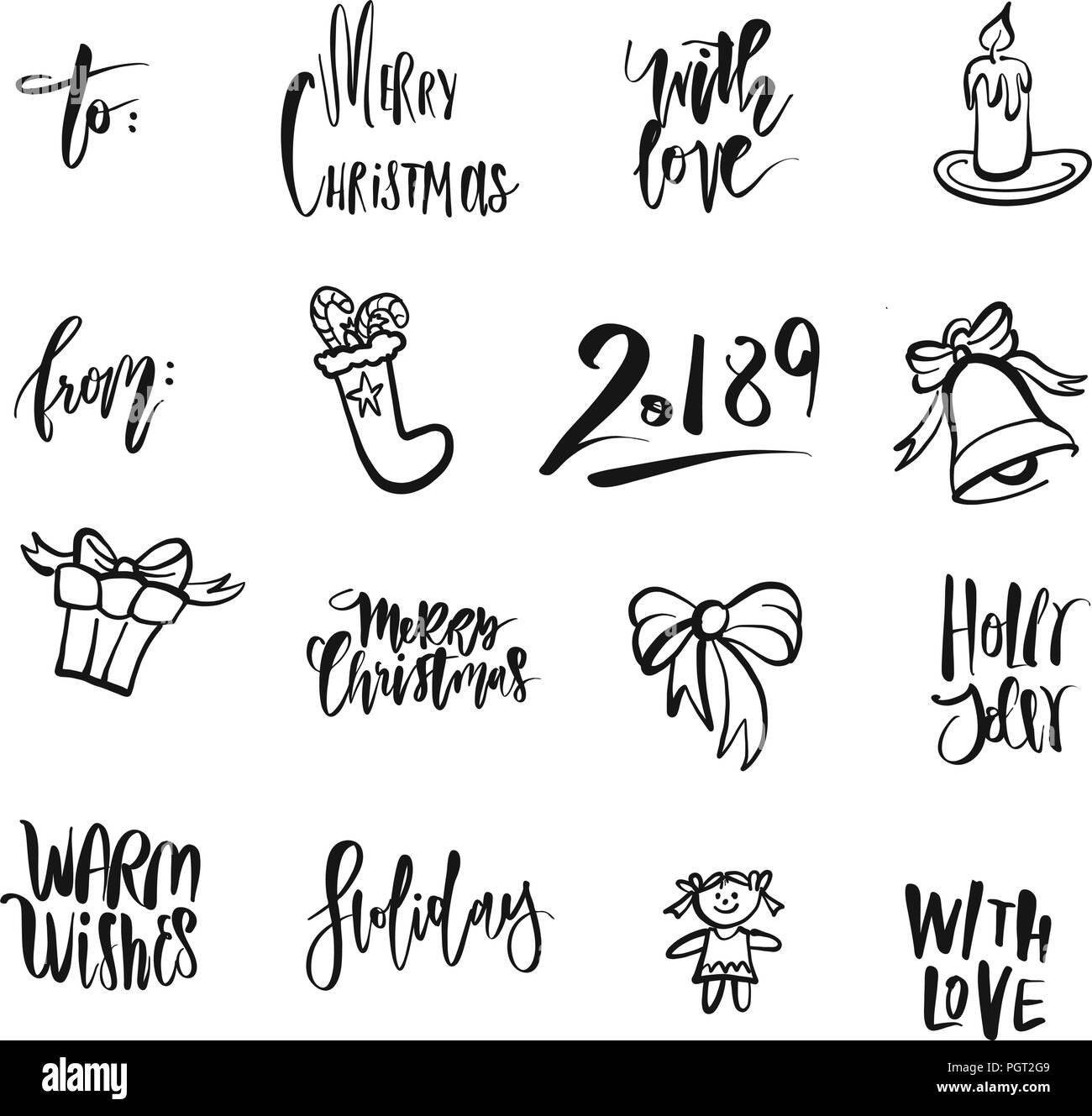 Christmas Icons And Words Nice Seasonal Calligraphic Artwork For