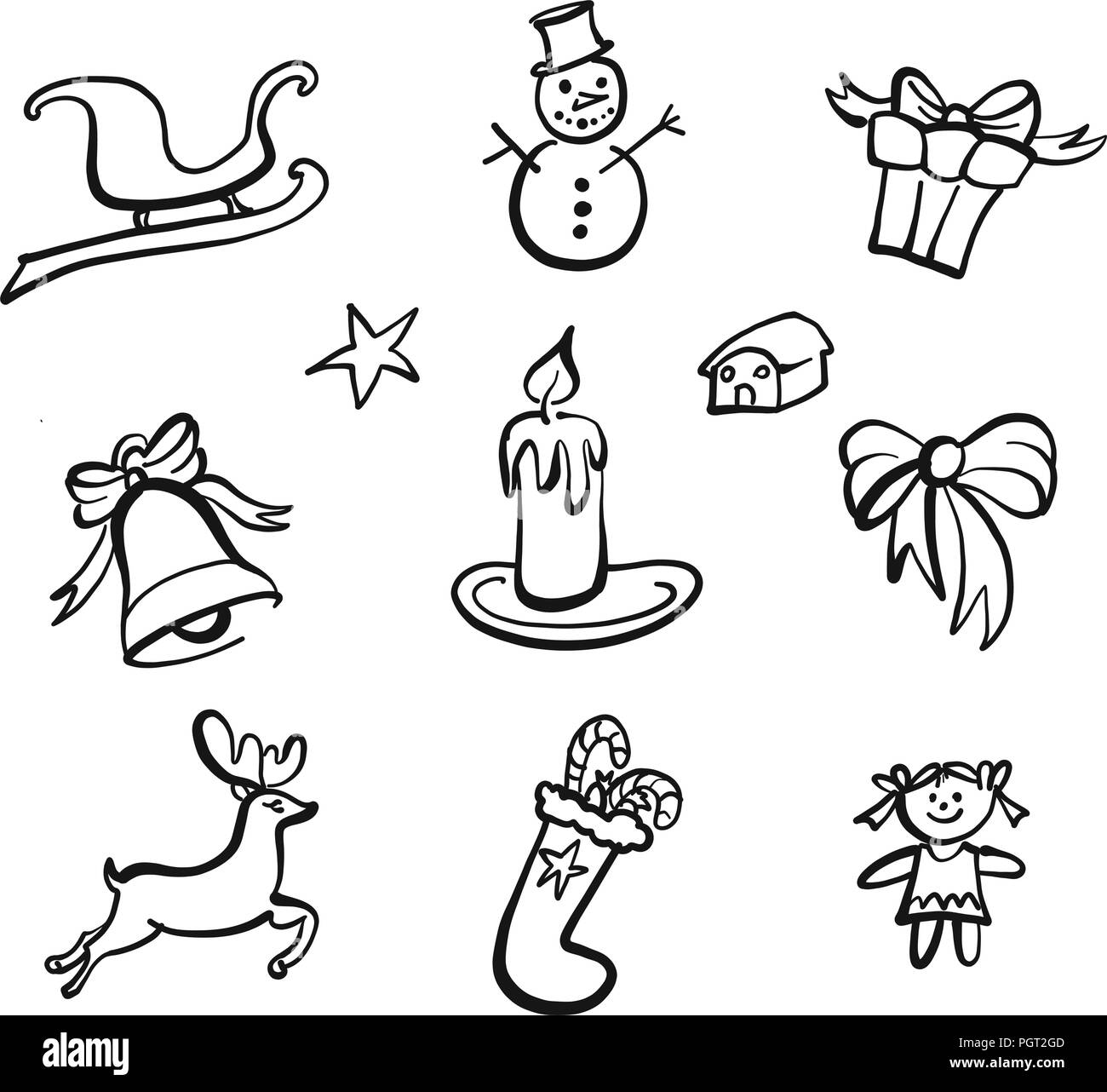 christmas icons drawings nice seasonal calligraphic artwork for greeting cards hand drawn vector sketch