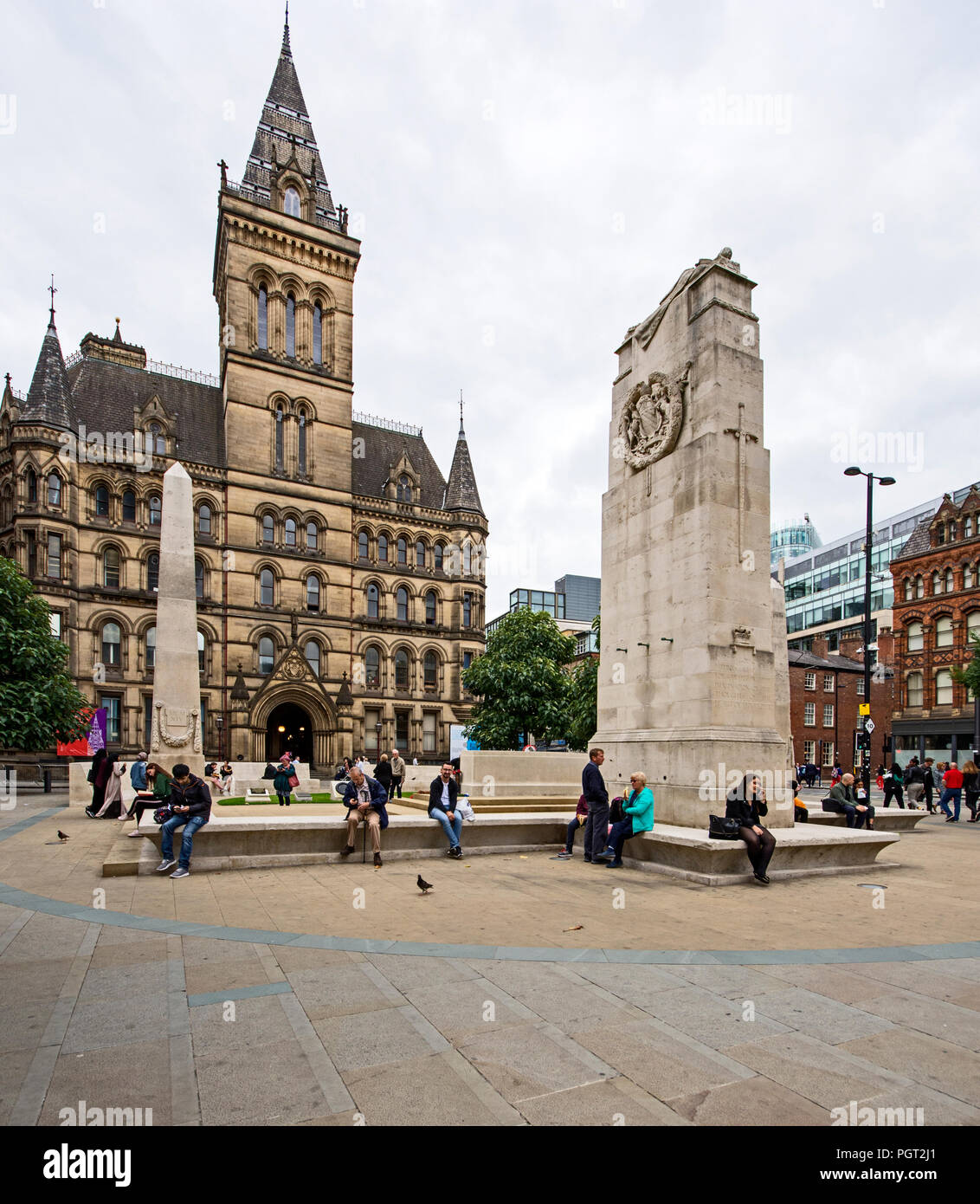 Manchester war memorial cenotaph in St Peters Square Manchester England designed by Sir Edward Luytens erected 1924 moved to present site in 2014. Stock Photo