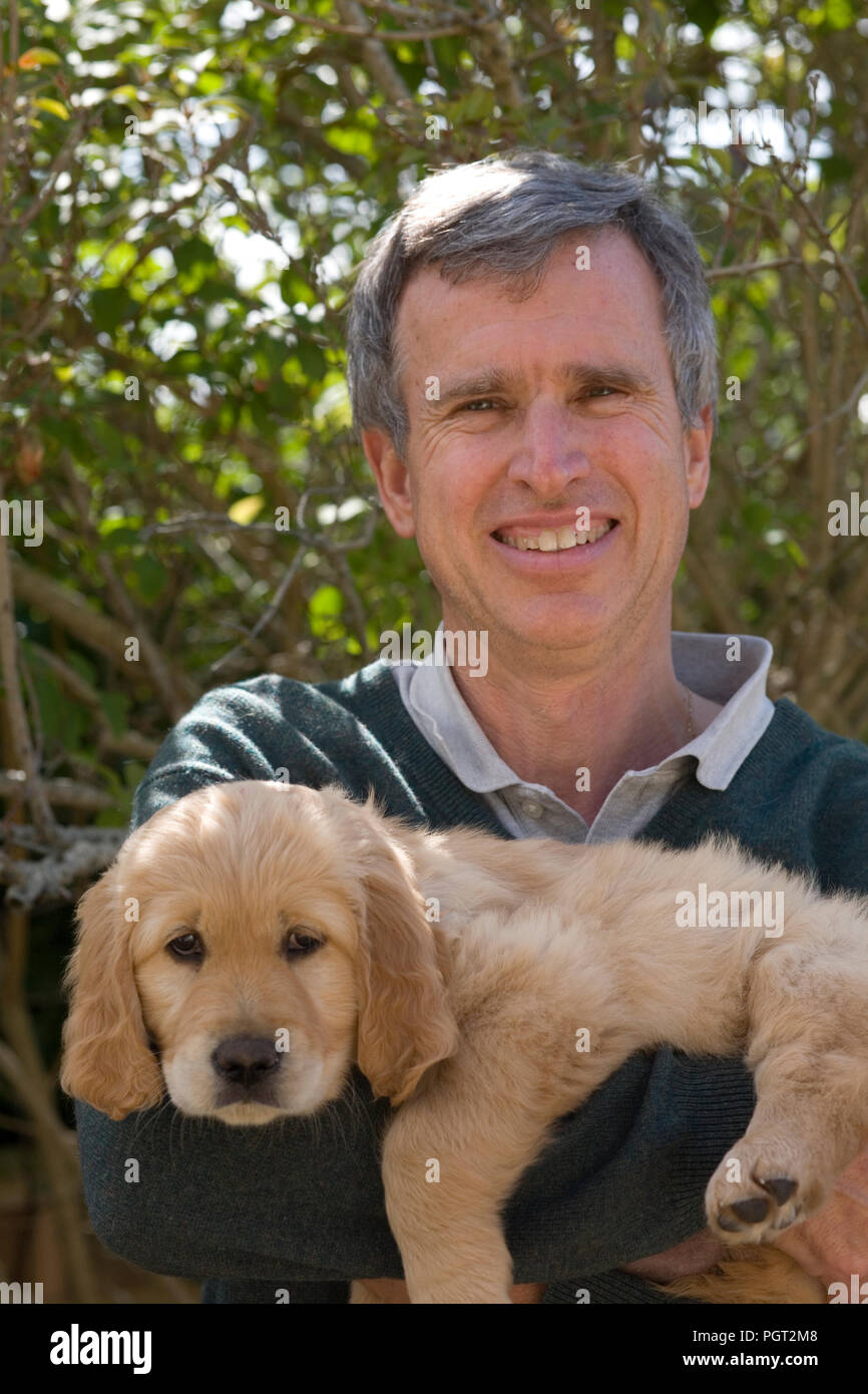 Breeder holding the golden retriever puppy that he has kept - Stock Image