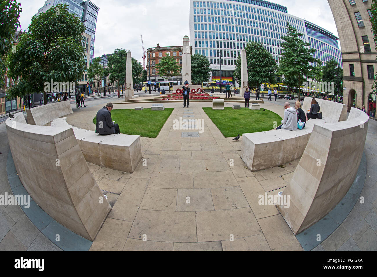 Fish Eye Lens view Manchester war memorial cenotaph St Peters Square Manchester England designed by Sir Edward Luytens moved to present site in 2014 Stock Photo