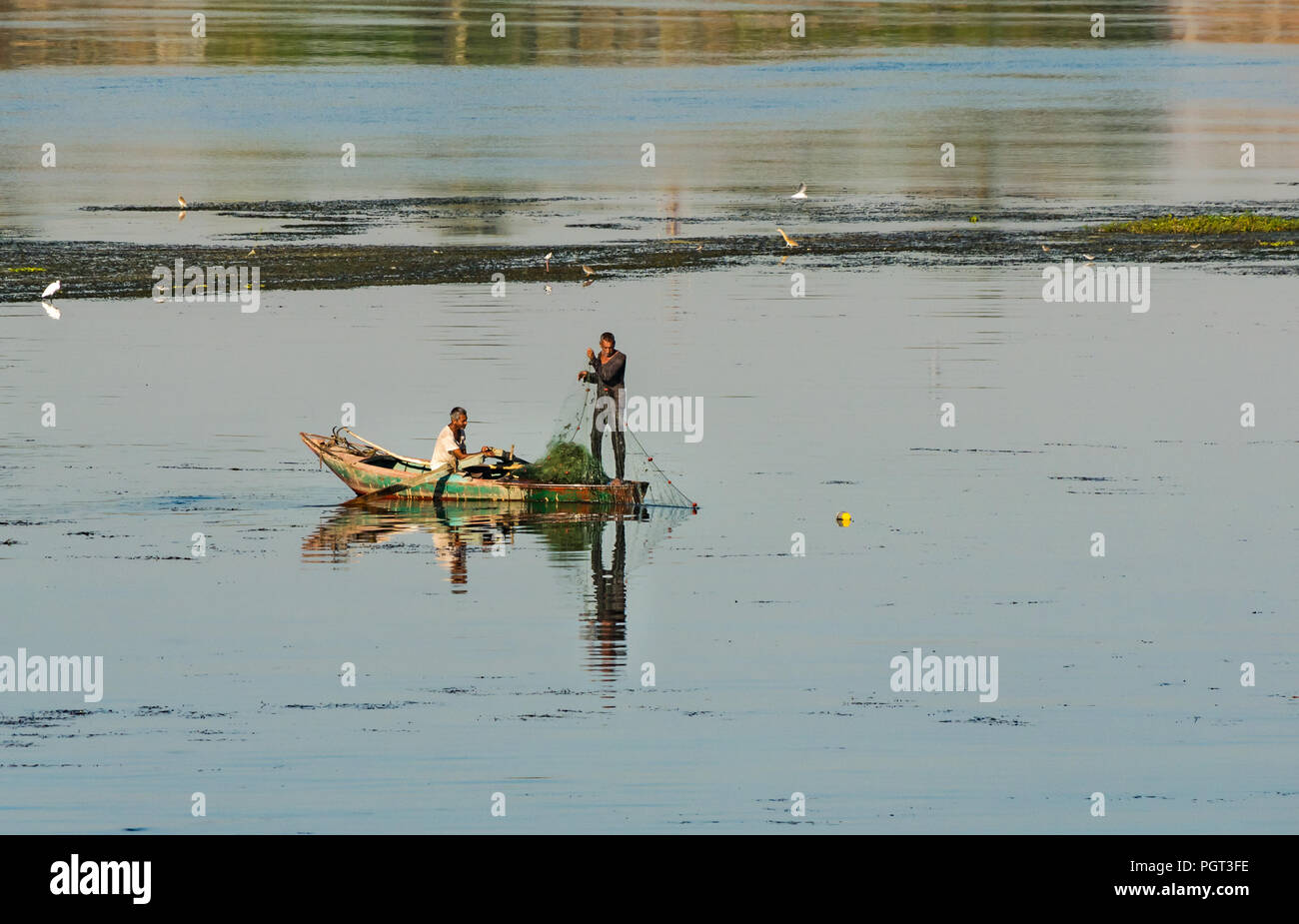 Egyptian local men in old rowing boat fishing with net in early morning light, with water reflections, Nile River, Egypt, Africa - Stock Image