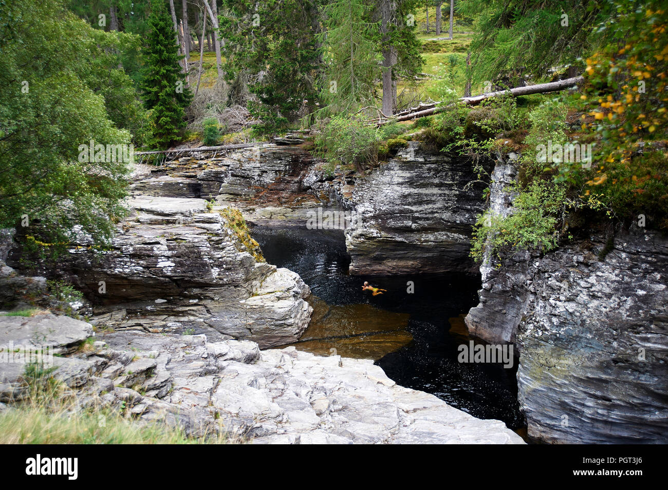 The Deep Gorge of the Linn of Dee, Cairngorms National Park, Perth and Kinross, Scottish Highlands, Scotland, UK, GB. - Stock Image