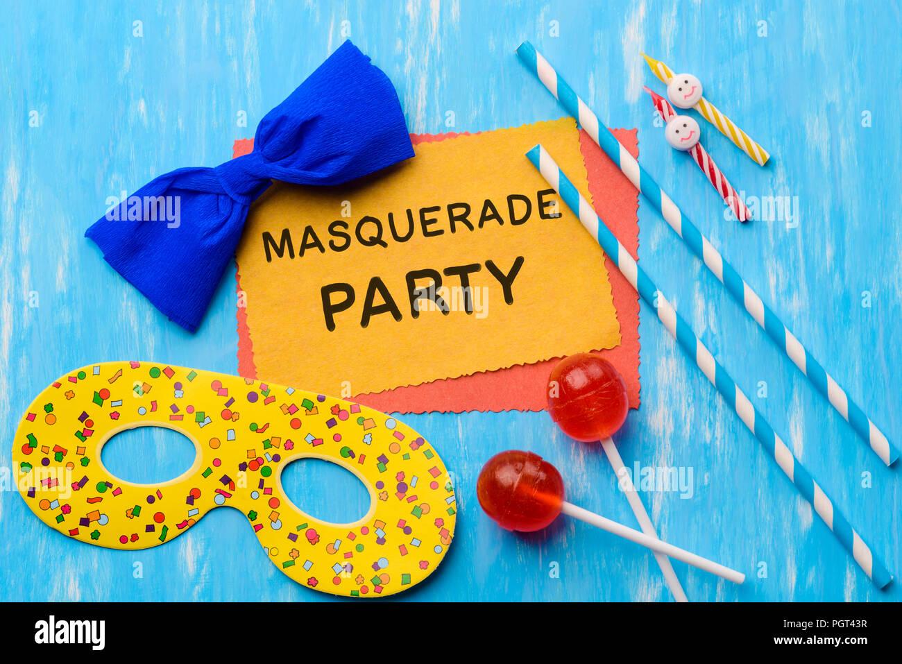 funny masquerade party invitation template stock photo 216889003