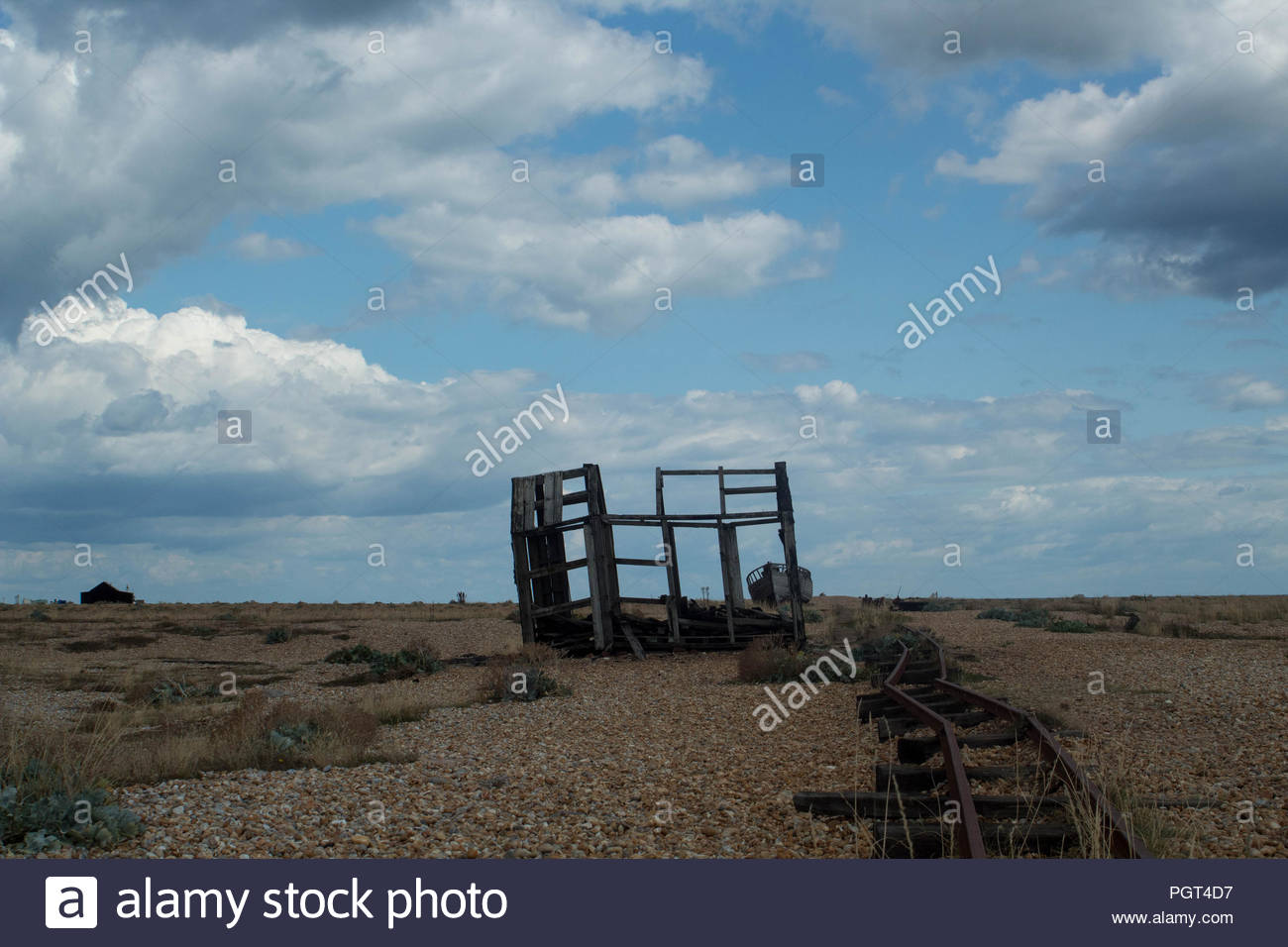 Travel & Tourism - Wild Locations -Go West Series. Abandoned railtrack remote isolation &  beauty in one of Britain's best Wild Places,Dungeness, UK. - Stock Image