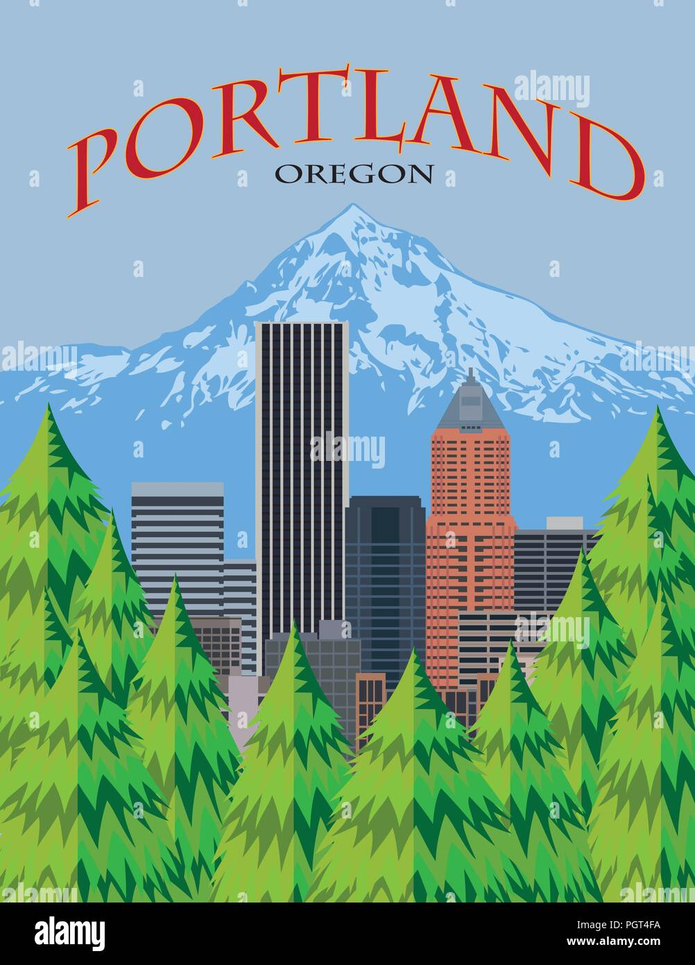 Portland Oregon city downtown skyline with Mount Hood from scenic viewpoint color poster illustration - Stock Vector