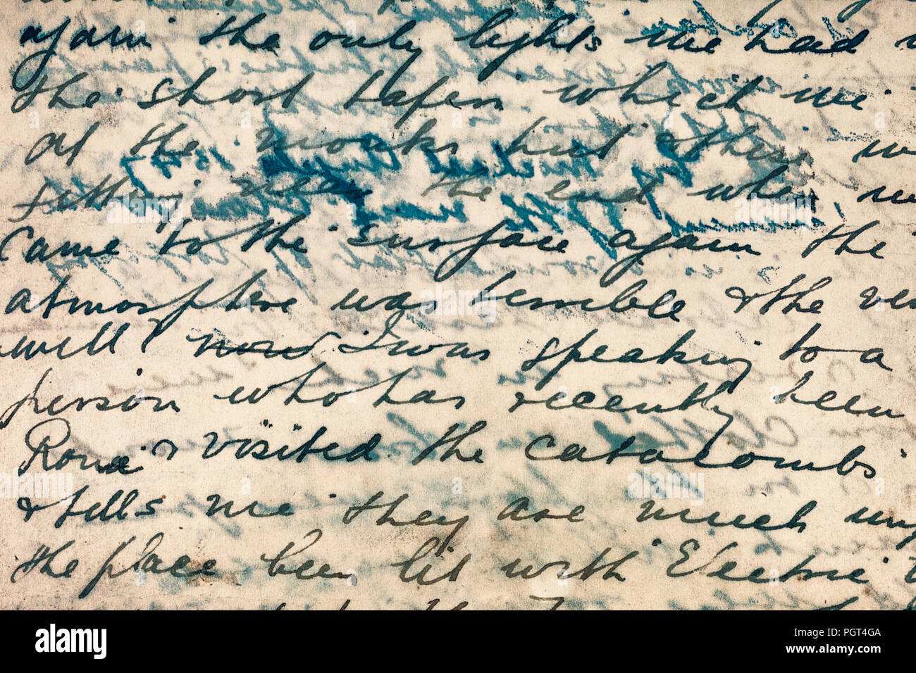 Lines from a 19th century letter about Rome. - Stock Image