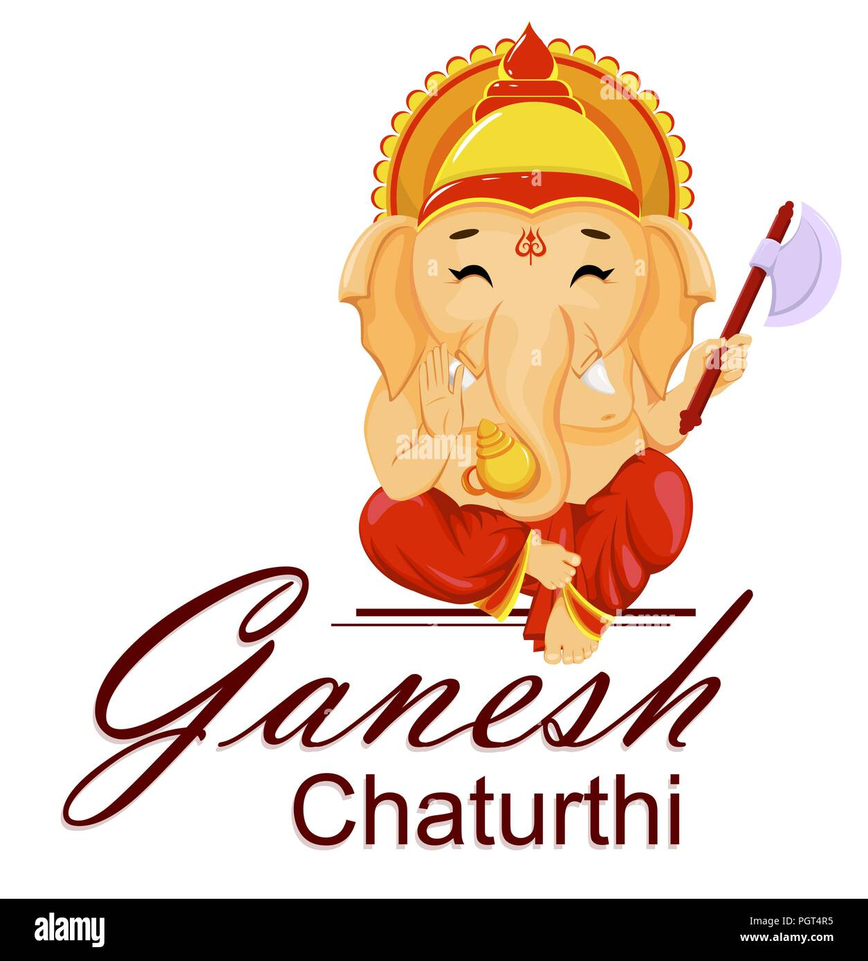 Happy Ganesh Chaturthi greeting card for traditional Indian festival. Lord Ganesha in cartoon style. Vector illustration. Stock Vector