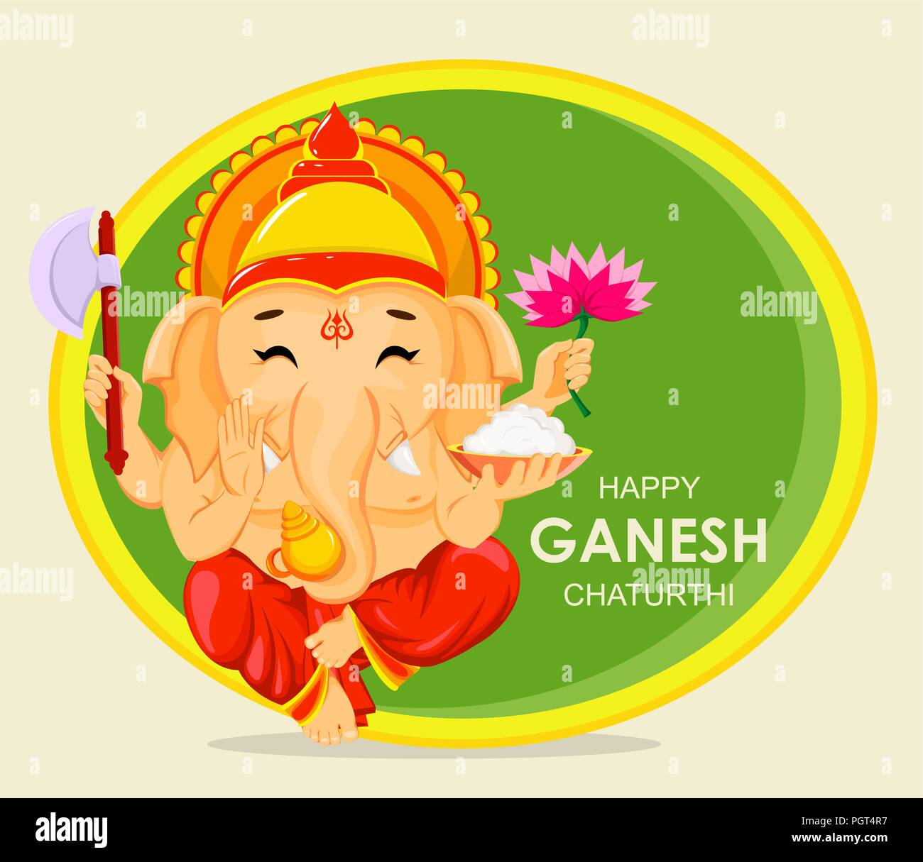 Happy Ganesh Chaturthi Greeting Card For Traditional Indian Festival