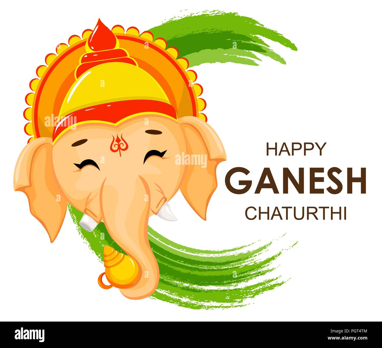 Happy ganesh chaturthi greeting card for traditional indian festival happy ganesh chaturthi greeting card for traditional indian festival face of lord ganesha in cartoon style vector illustration on green watercolor b m4hsunfo