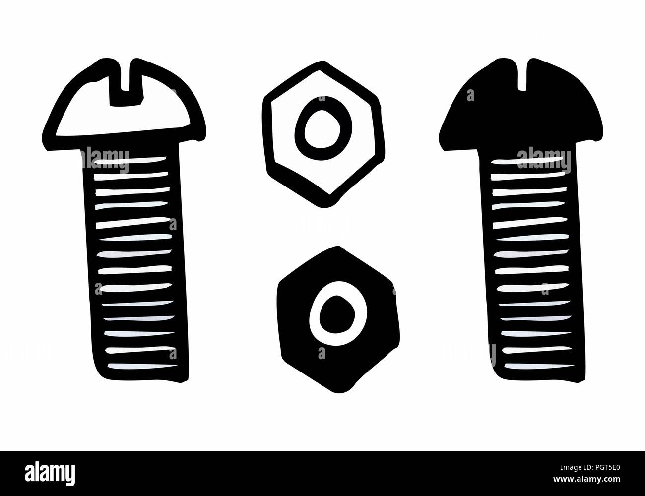 Hand-drawn style illustration of bolt and nut on white background - Stock Vector