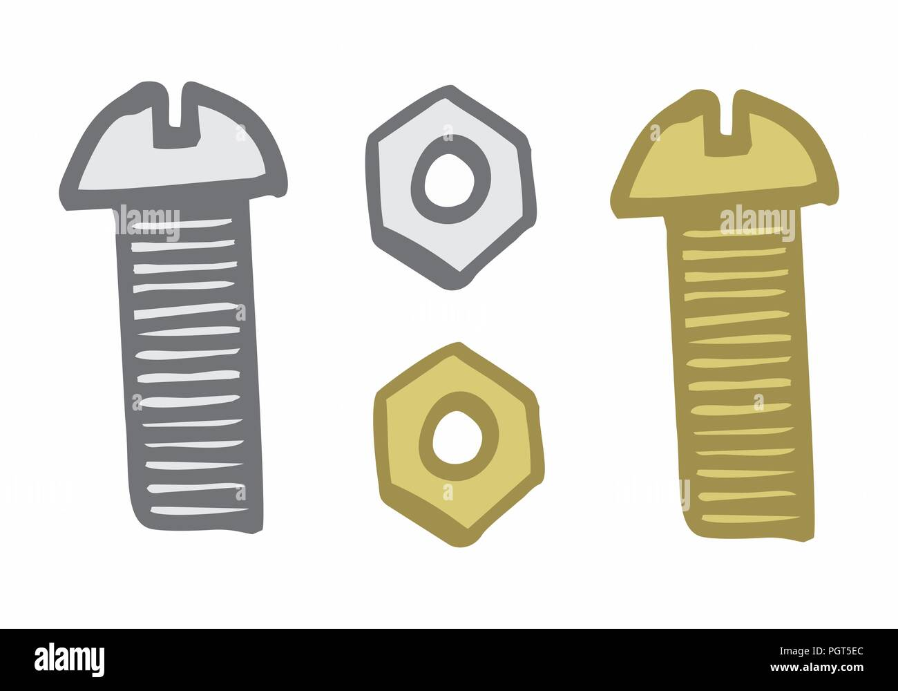 Hand-drawn style illustration of colorful bolt and nut on white background - Stock Vector