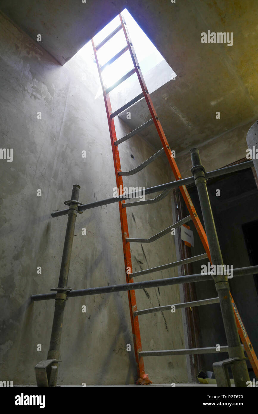 Ladder to the roof, building site in Part-Dieu district, Lyon, France - Stock Image