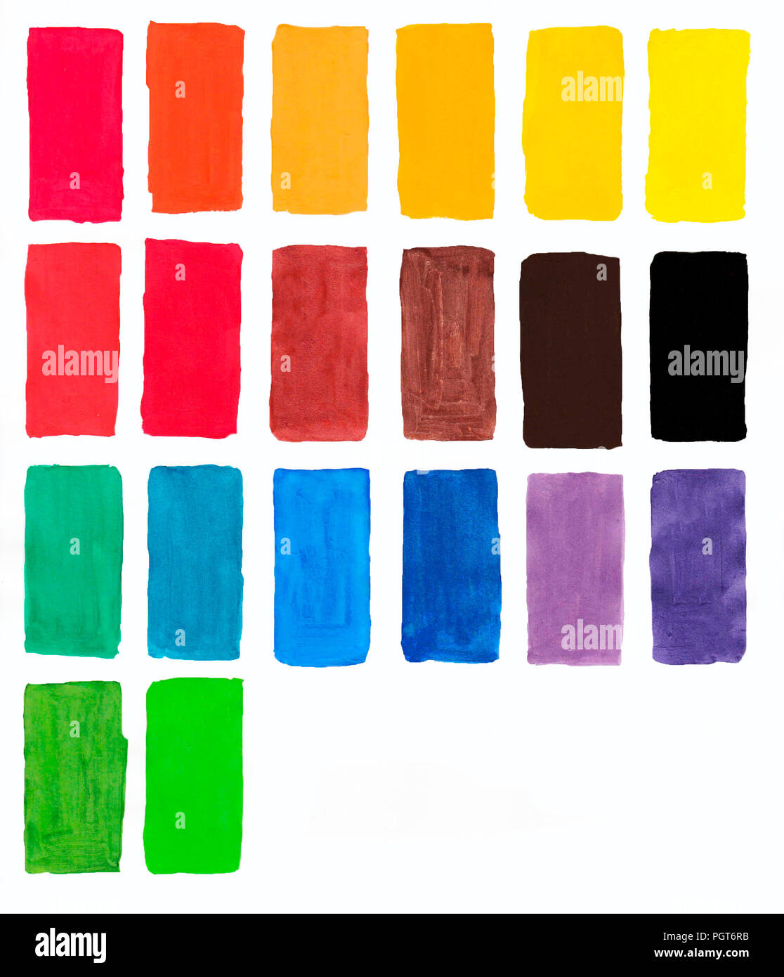 palette of gouache, all the colors of the rainbow colors list of colors squares, watercolor colors on paper Stock Photo