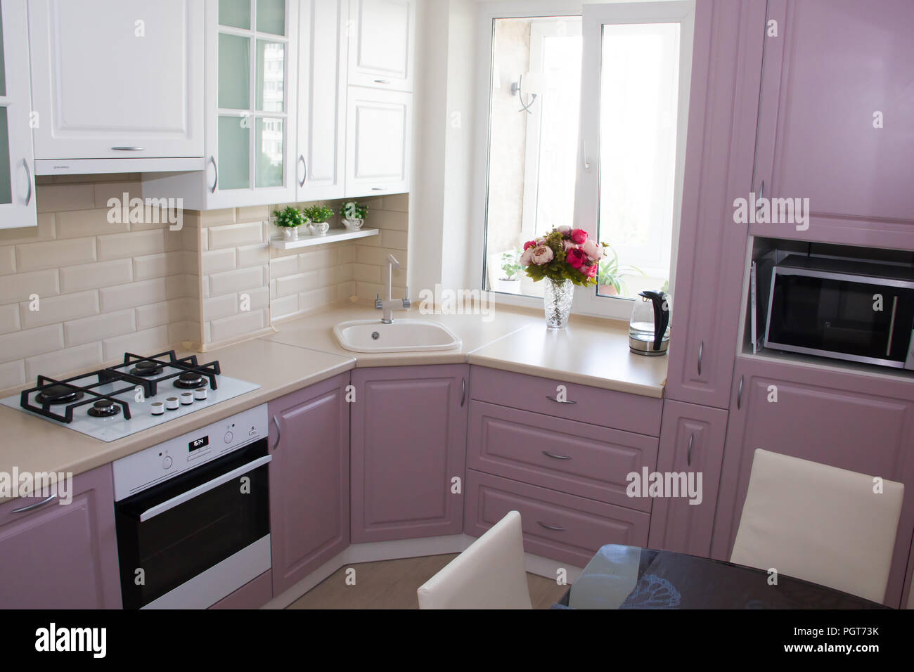 Large Light Pink Kitchen Interior Of A Pink Kitchen Wooden Kitchen Design Russia St Petersburg June 2018 Stock Photo Alamy