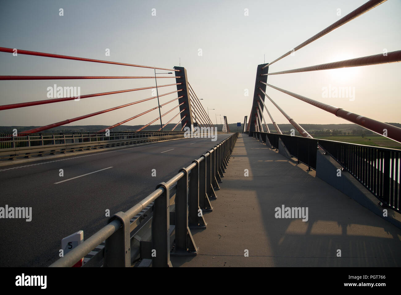 Extradosed bridge over Vistula River in Dolina Dolnej Wisly (Lower Vistula Valley) in Korzeniewo, Poland. August 23rd 2018, is the largest extradosed  - Stock Image