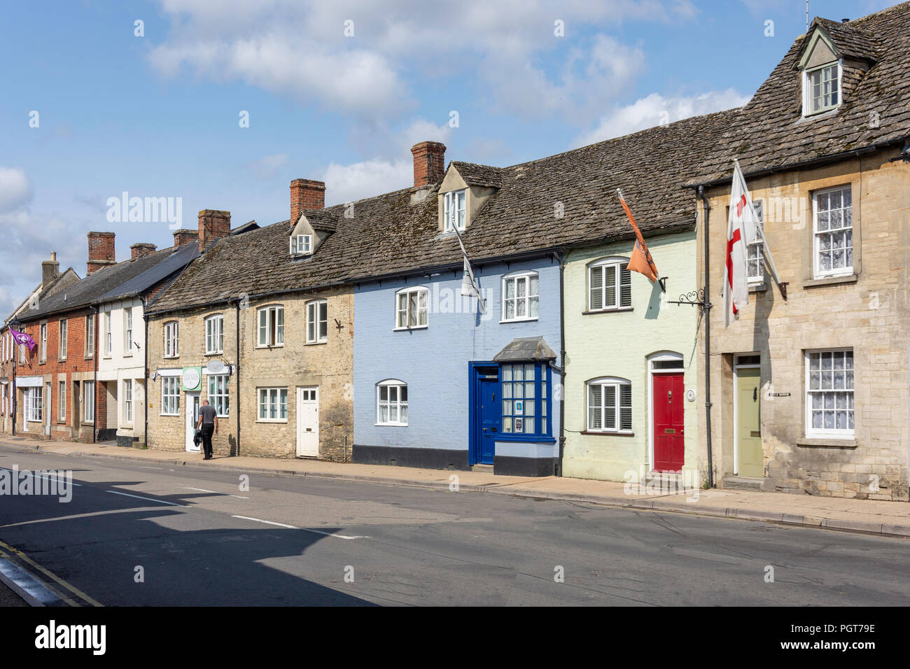 Period houses, High Street, Lechlade-on-Thames, Gloucestershire, England, United Kingdom - Stock Image