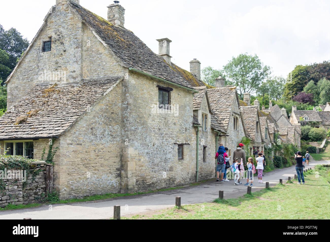 Cotswold stone cottages, Arlington Row, Bibury, Gloucestershire, England, United Kingdom - Stock Image