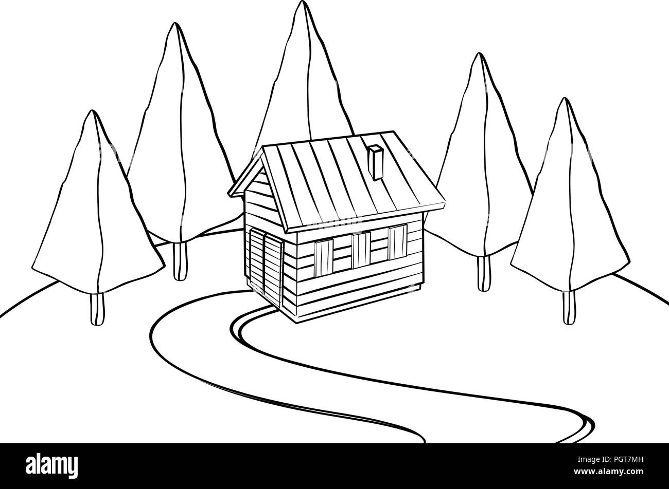Cabin in the woods hand drawn sketch in black and white - Stock Vector