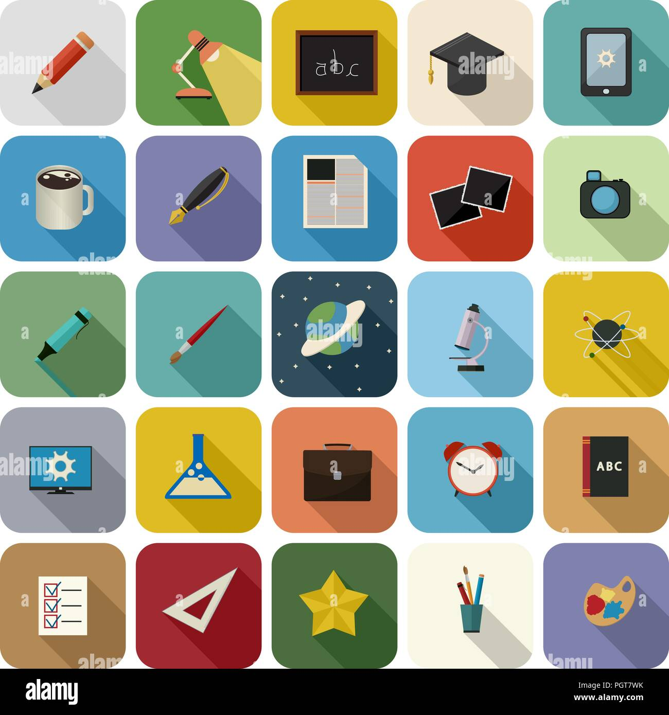 Set of education flat icon set with long shaddow against white background - Stock Image