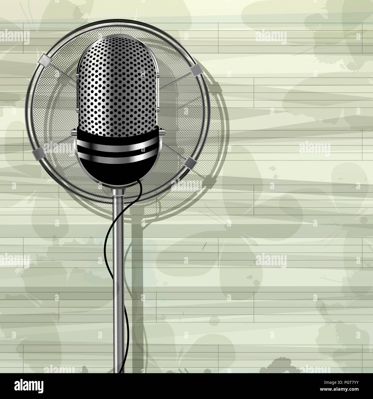 Abstract musical template with retro style metallic microphone and butterflies - Stock Image