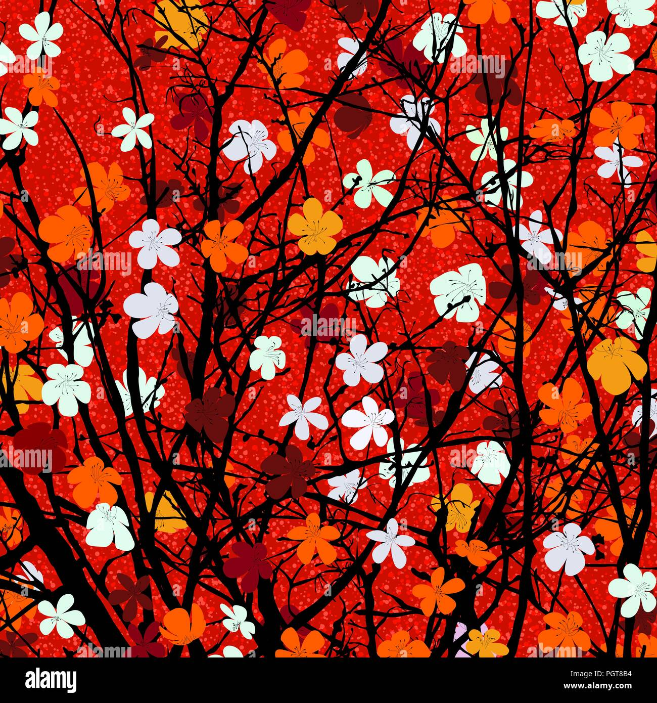 Spring theme blossom tree background for print - Stock Vector