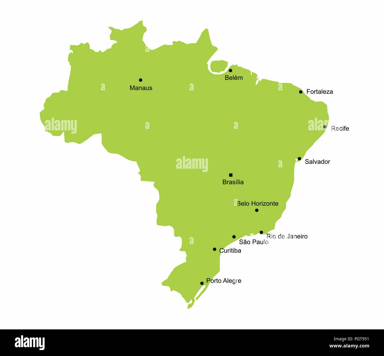 Map of Brazil with some of the main cities Stock Vector Art ...