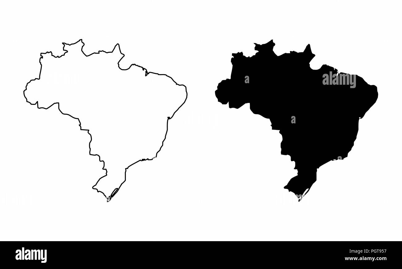 Simplified maps of the Brazil. Black and white outlines. - Stock Vector