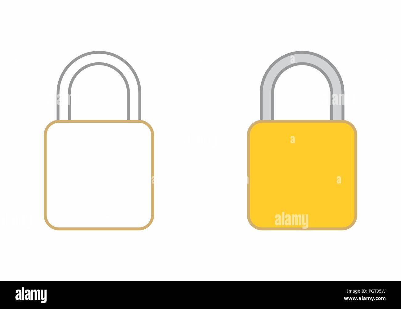 Flat illustrations of padlocks isolated on white background Stock Vector