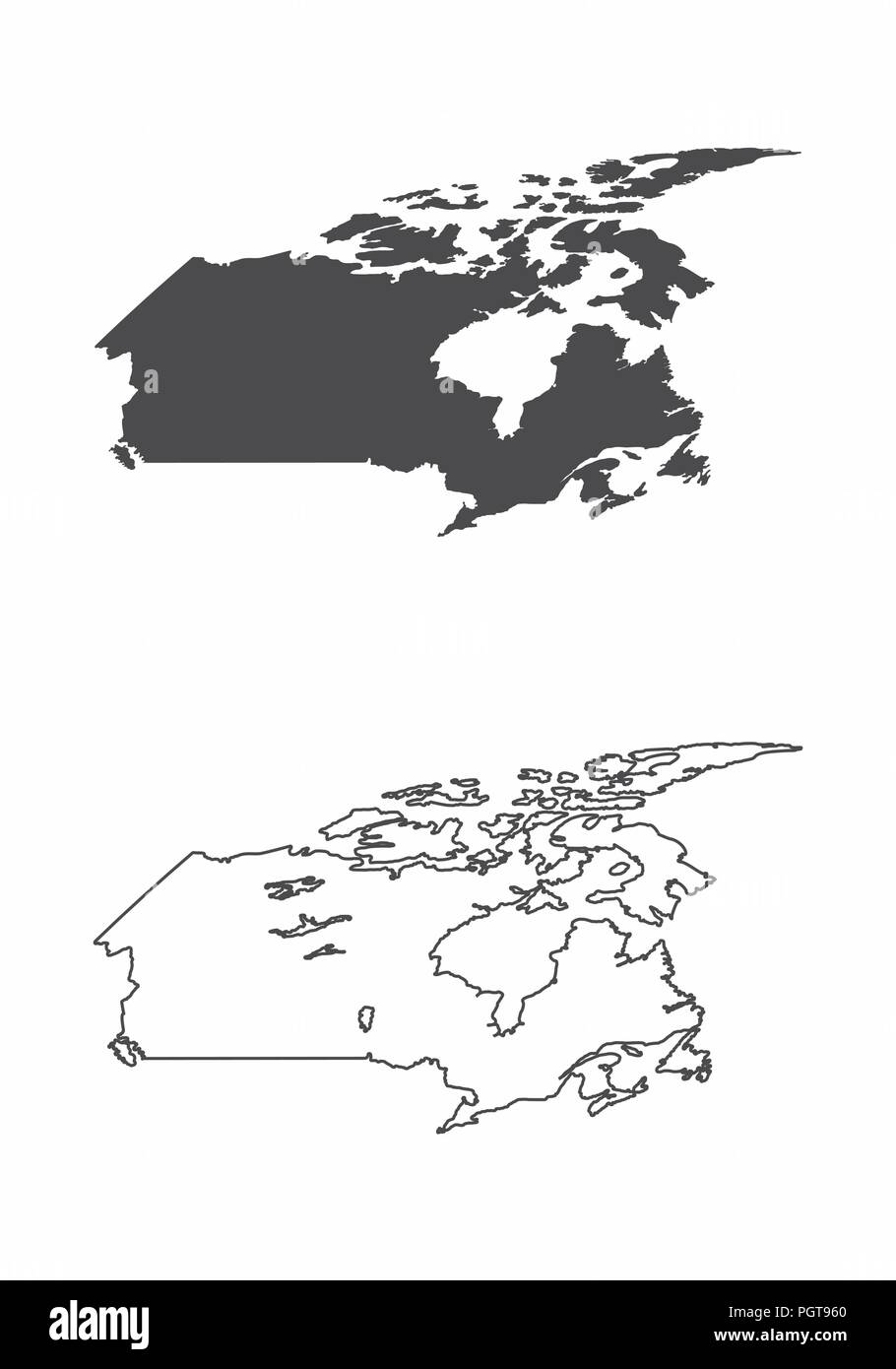 Simplified maps of Canada. Black and white outlines. - Stock Vector