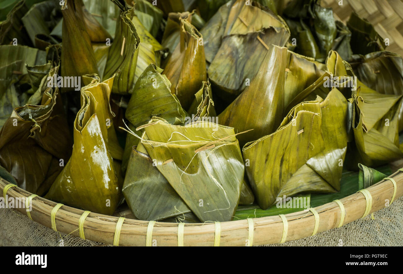 Nagasari Traditional Steamed Cake Made From Rice Flourfilled With Sliced Of Banana Wrapped In Banana Leaves In Central Java Indonesia Stock Photo Alamy